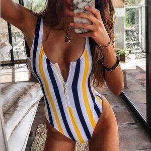 Striped Zip Monokini